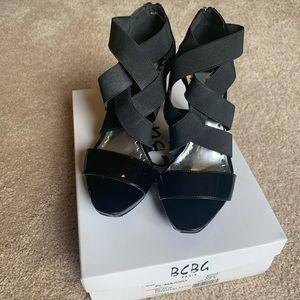 BCBG Paris Black Patent Leather Strappy Heels
